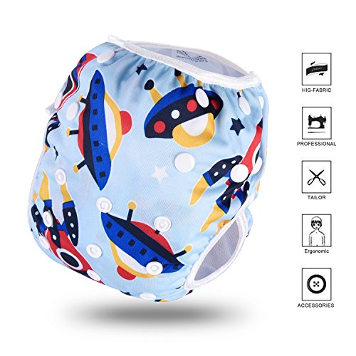 Letcome Reusable Swim Diaper, Adjustable & Stylish Fits Babies Diapers Sizes N-5 (13-66lbs) Ultra Premium Quality for Eco Friendly Baby Shower Gifts & Swimming Lessons Little Girl Boy Swimsuit from Letcome