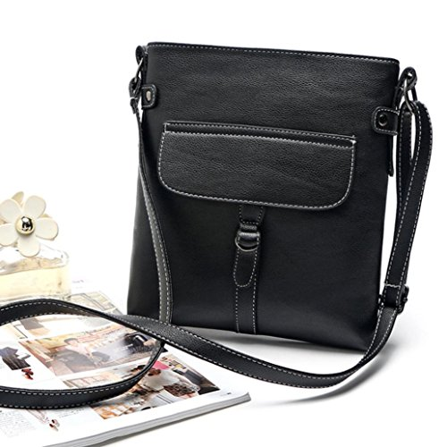 Bag Body Messenger Satchel Leather Handbag Handbag Black Shoulder Cross Familizo Ladies On0Wpc4cX8