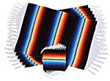 Colorful Fringed Mexican Serape Place Mats and Coasters Designed in Traditional Mexican Serape Blanket Material. Set of 6 Placemats and 6 Coasters (Black)