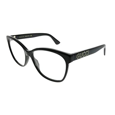 a9ed298d925b4 Image Unavailable. Image not available for. Color  Gucci GG 0421O 001 Black  Plastic Square Eyeglasses 55mm