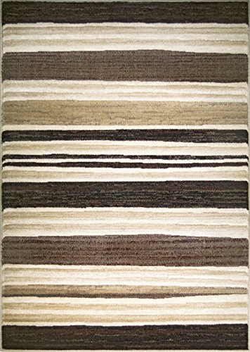 ADGO Hudson Collection Modern Geometric Striped Soft Pile Contemporary Carpet Thick Stain Fade Resistant Easy Clean Bedroom Living Dining Room Area Rug 4 x 6 , 2721A – Beige Brown