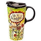 Cypress Home Life is Beatiful Ceramic Travel Coffee Mug, 17 ounces