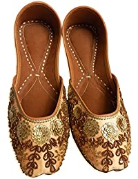 1c0fd9167e80 Indian Ethnic Embroidered Jutti Mojari Ballet Flats Traditional Peach Pump  Shoes for Women