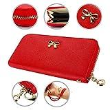 GEARONIC TM New Fashion Lady Bow-Tie Zipper Around Women Clutch Leather Long Wallet Card Holder Case Purse Handbag Bag - Red