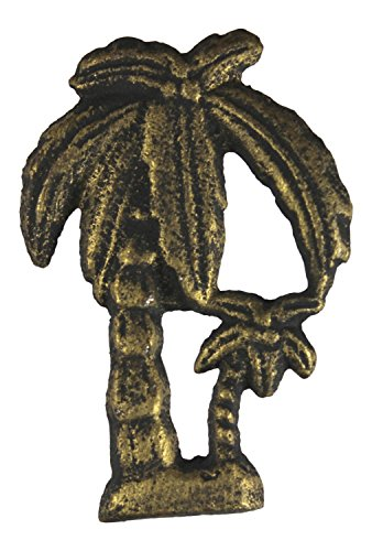 (Chesapeake Bay Palm Trees Drawer Pull Antiqued Gold Cast Iron Painted and Distressed )