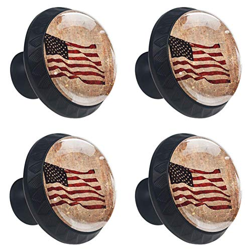 (4 Pcs 35mm Retro Patriotic American Flag Cabinet Knobs Round Glass Drawer Handles Pull with Screws for Home, Office, Kitchen, Bathroom Cabinet, Dresser and Cupboard (1-3/8 Inches) )