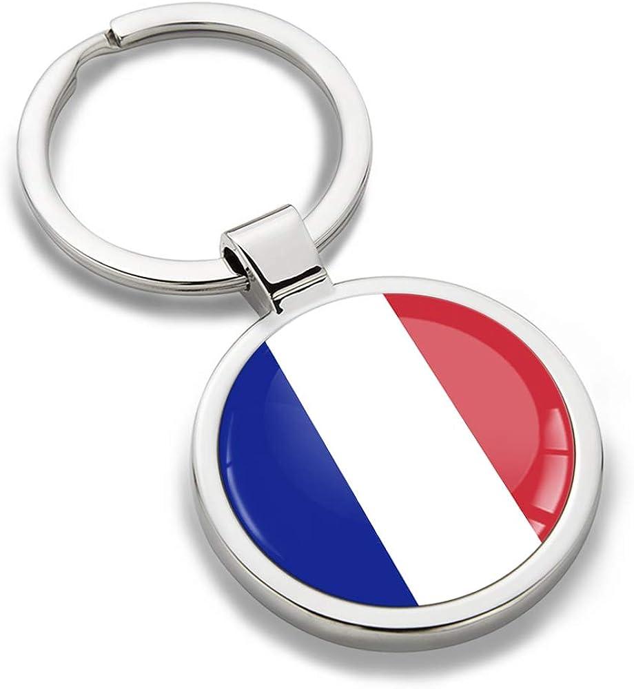 Biomar Labs Schlüsselanhänger Metall Keyring Mit Geschenkbox Autoschlüssel Geschenk Metall Schlüsselanhänger Schlüsselbund Edelstahl Frankreich France Flagge Kk 188 Bekleidung