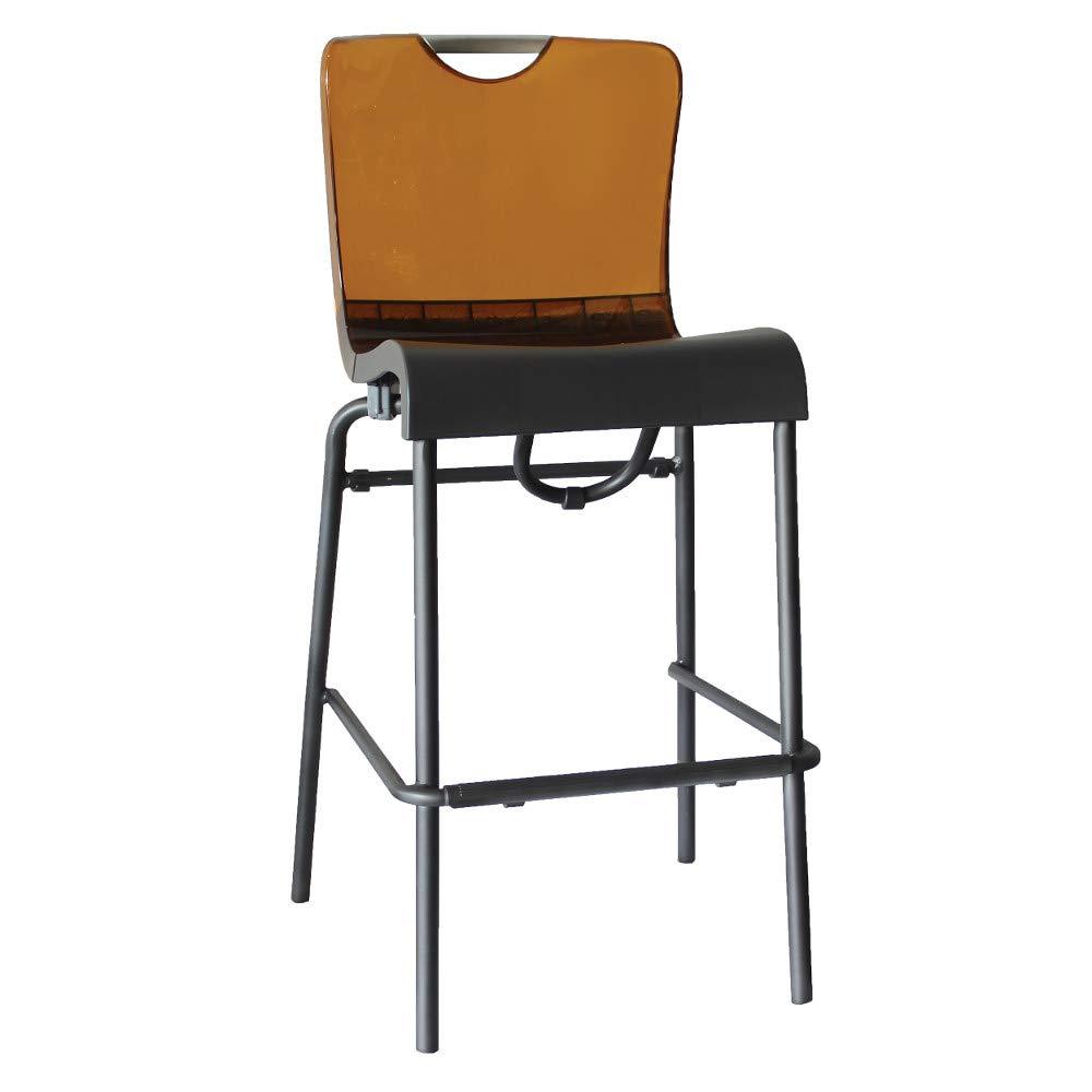 Grosfillex US229447 Krystal Stacking Barstool, Amber Back/Charcoal Seat (Case of 8)