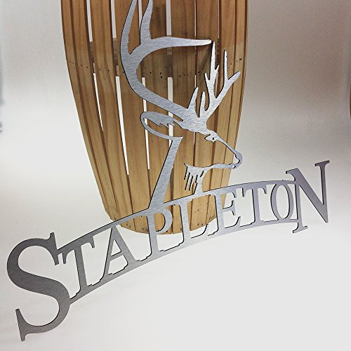 Deer Hunter Sign for wall personalized metal sign with name man cave decor