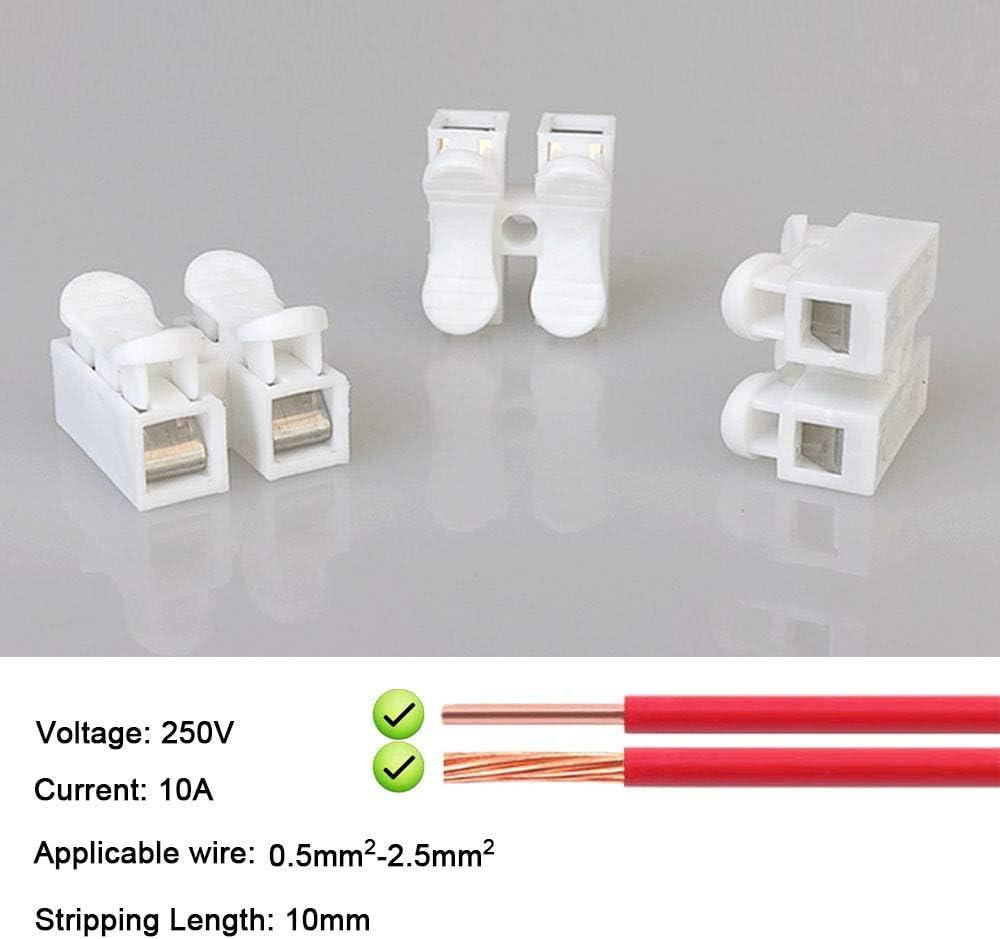 Collegamento per Cablaggio Elettrico e Alimentazione Illuminazione Aiqeer 68 Pezzi CH2 Connettore Molla Rapido Bianco Morsettiera Molla Rapido Morsetto a Molla Connettore
