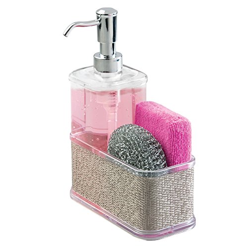 mDesign Soap Dispenser Pump with Sponge and Scrubber Caddy Organizer for Kitchen Countertops - Metallico/Chrome by mDesign