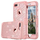 iPhone 7 Plus Case, LONTECT Hybrid Heavy Duty Shockproof Diamond Studded Bling Rhinestone Case with Dual Layer [Hard PC+ Soft Silicone] Impact Protection for Apple iPhone 7 Plus - Rose Gold (Electronics)