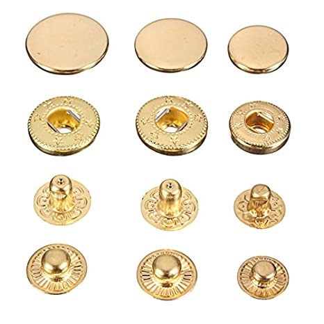 15pcs Brass Snap Fastener Press Stud Rivet Sewing Leather Button Craft For Cloth