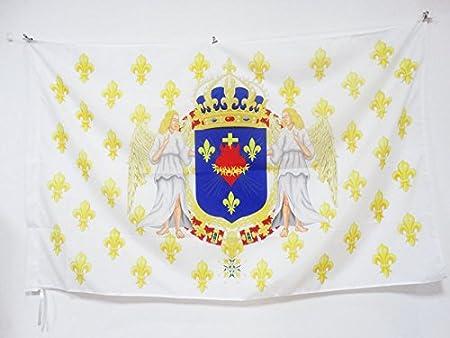 Drapeau royaliste pavillon du Roi Ancien R/égime J/ésus 60 x 90 cm Fourreau pour hampe AZ FLAG Drapeau Royaume de France Anges Sacr/é C/œur 90x60cm