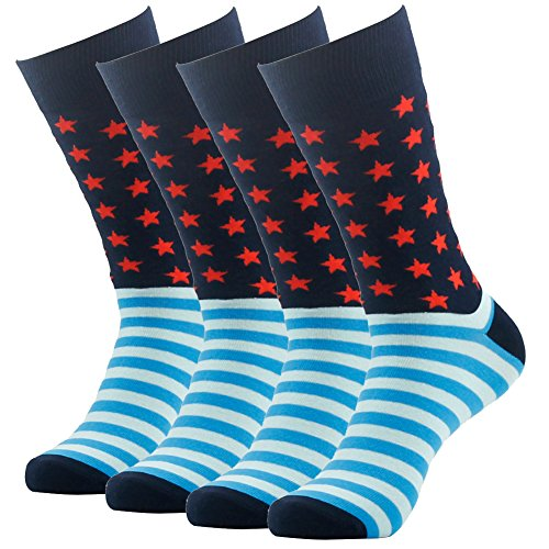 SUTTOS Mens Womens Ultimate Soft Cotton Funky Fashion Pattern Long Tube Crew Dress Socks,4 Pairs