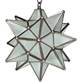Moravian Star Pendant Light, Frosted Glass, Bronze Frame, 12""