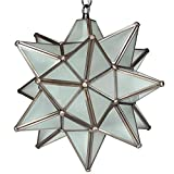 Moravian Star Pendant Light, Frosted Glass, Bronze Frame, 12''