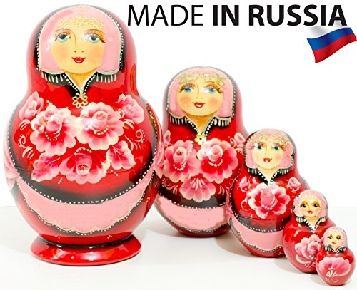 Russian Nesting Doll -Anastasia - Hand Painted in Russia - Traditional Matryoshka Babushka (6``(5 dolls in 1), Red) - Hand Painted Russian Nesting