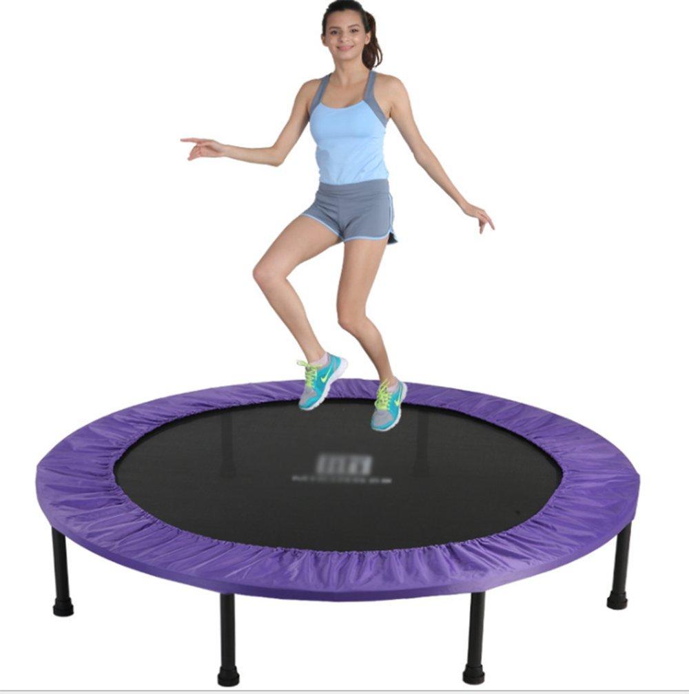 Wly&Home Faltbare Kinder Trampolin, Einsparung von Platz Fitness Erwachsenen Bungee-Bett, Indoor-Ausstattung Bounce Bett Durchmesser 121Cm Lila