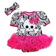 Baby Polka Dots Bow Skull Pirate Damask Bodysuit Tutu Small Hot Pink