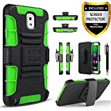 note 3 belt holster - Galaxy Note 3 Case, Combo Shell Cover Kickstand with Built-in Holster Locking Belt Clip+Circle(TM)Touch Screen Pen And Screen Protector (Green)