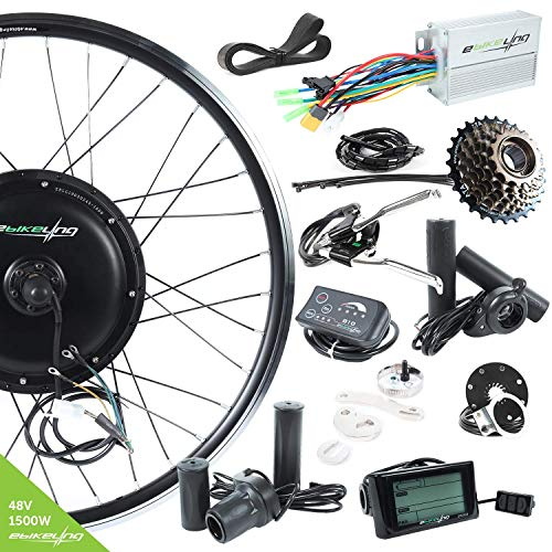 """EBIKELING 48V 1500W 26"""" Direct Drive Rear Electric Bicycle Conversion Kit (26""""/LED/Twist)"""