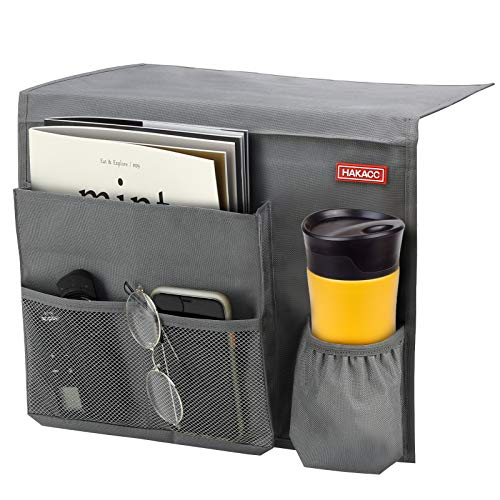 HAKACC 11.8 ×15 Inch Bedside Caddy/Bedside Storage Organizer,Under Couch Table Mattress,Book Remote Glasses Caddy, Gray