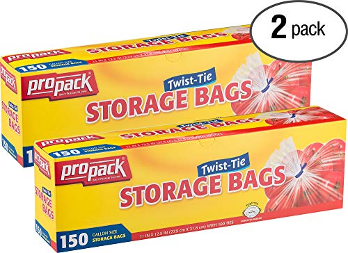 Propack Clear Disposable Plastic Twist & Tie Gallon Size Storage Bags, Great Use for Every Day Snacks, Sandwiches, Fridge Or Freezer, 2 Pack (300 Bags)