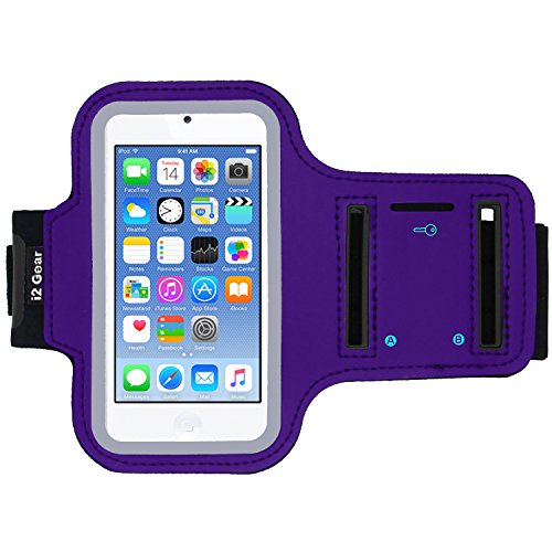 iPod Touch 6th Generation (6G) Exercise & Running MP3 Player Armband Case with Key Holder & Reflective Band (Purple) - Apple Ipod Touch Sports Armband