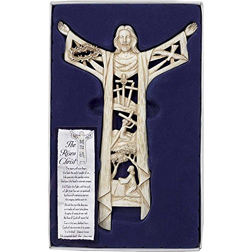 Dicksons The Risen Christ Calvary Story 11 Inch Woodgrain Resin Stone Wall Cross ()