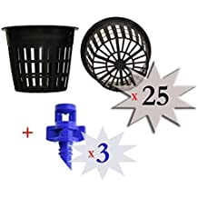 Cz Garden Supply 25 pack - 3 inch Round HEAVY DUTY Net Cups Pots WIDE LIP Design - Orchids • Aquaponics • Aquaculture • Hydroponics • WIDE Mouth Mason Jars • Slotted Mesh by