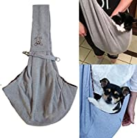 ME.FANª Reversible Small Dog Cat Sling Carrier Bag - Hands-free Travel Double-sided Pouch Shoulder Carry Tote Puppy Kitty Rabbit - Soft Comfortable Breathable Cotton Pet Outdoor Handbag - Grey