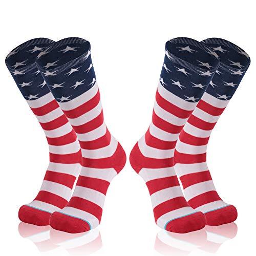 Patriotic Stocking - American Flag Socks, Gmark Women's Independence Day Patriotic Comfortable Cotton Socks 2 Pairs Size Medium