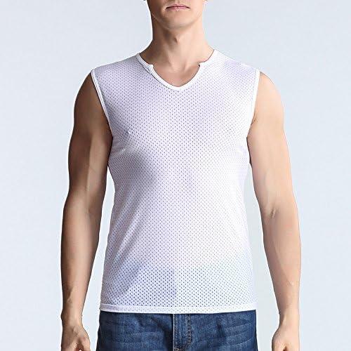 Los hombres sin mangas de amplio hombro transpirable chaleco camisa abierta posterior formación de malla golpeó el suelo camisetas sin mangas, blanco, M: Amazon.es: Ropa y accesorios
