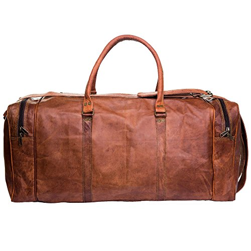 Handmade Leather Travel Duffle Bag Vintage Style Overnight Bag Size 20 Inch by Urban Leather (Image #1)