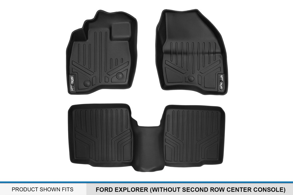2 Row Set Without Second Center Console MAX LINER A0245//B0082 Black Floor Mat for Ford Explorer