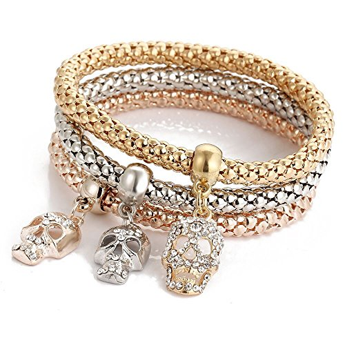I's 3 Bracelets Multilayer Gold/Silver/Rose Gold Corn Chain Charms with Crystal Stretch Bracelet Set for Women (Steampunk (Skull Chain)