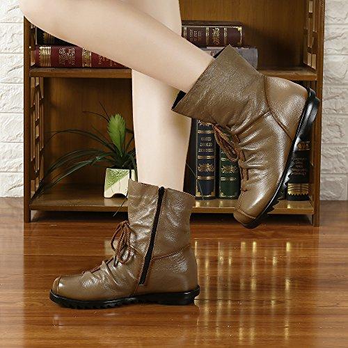 SAGUARO Damen Stiefeletten Wasserdicht Weiches Leder Stiefel Gefüttert Damenstiefel Vintage Schuhe Braun
