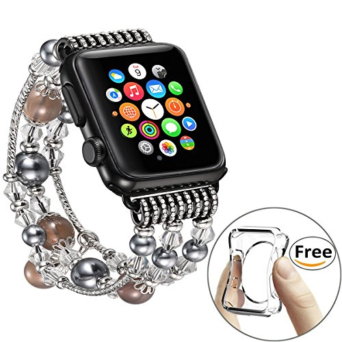 Fastgo Band for Iwatch, Luxury Bling Gray Beaded Faux Pearl Natural Stone Band Replacement for Apple Watch Strap For Women Girls Series 3/2/1