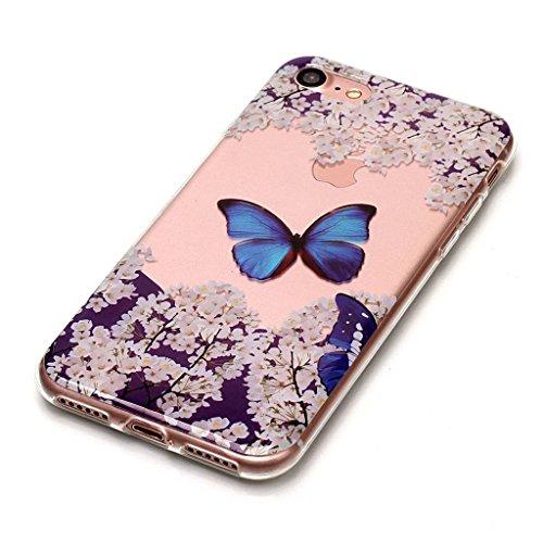 iPhone 7 Coque,Joli papillon Premium Gel TPU Souple Silicone Transparent Clair Bumper Protection Housse Arrière Étui Pour Apple iPhone 7 + Deux cadeau