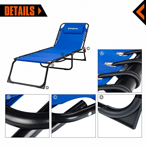KingCamp Patio Lounge Chair Chaise Bed 3 Adjustable Reclining Positions Steel Frame 600D Oxford Folding Camping Cot with Removable Pillow for Camping Pool Beach Supports 300lbs by KingCamp (Image #2)