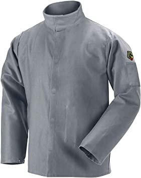 Large JF2220-GY Black Stallion NFPA 9oz Gray FR Cotton Welding Jacket
