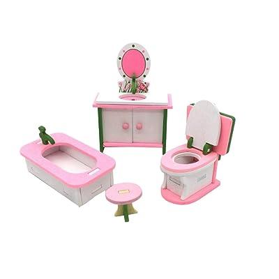 TOYMYOTY Conjunto de muebles de casa de muñecas en miniatura Juguetes de madera tradicionales de familia para niños (baño): Juguetes y juegos