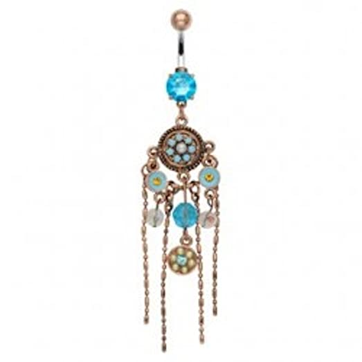 Amazon aqua gems chandelier belly ring wfigaro chain jewelry aqua gems chandelier belly ring wfigaro chain mozeypictures Gallery