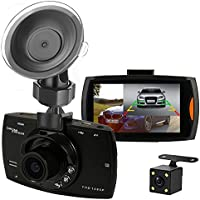 Camecho Dual Camera Car Video Recording G30 On Dash Cam 1080P Full HD Video Recorder With Backup Rear Camera Night Vision Not Include 32G Memory Card