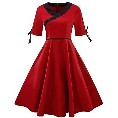 22240b9d3a1 Yesmile Damen Kleider Frauen Vintage Casual Kleid Übergröße Langarm  Cocktail Kleider Herbst Freizeitkleid Partykleid