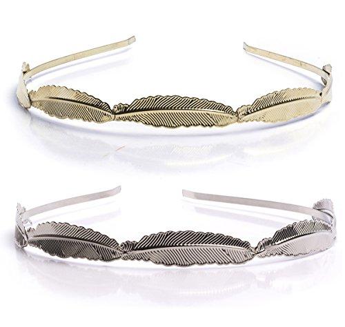 [Metal Headband - 2 Pack Narrow Headbands - Bridal Headpiece - Gold Leaf Hairband by CoverYourHair] (Roman Goddess Accessories)
