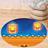 VROSELV Custom carpetDiwali Decor Religious Celebration of India with Lights Candles and Night Scenery Print for Bedroom Living Room Dorm Multicolored Round 72 inches