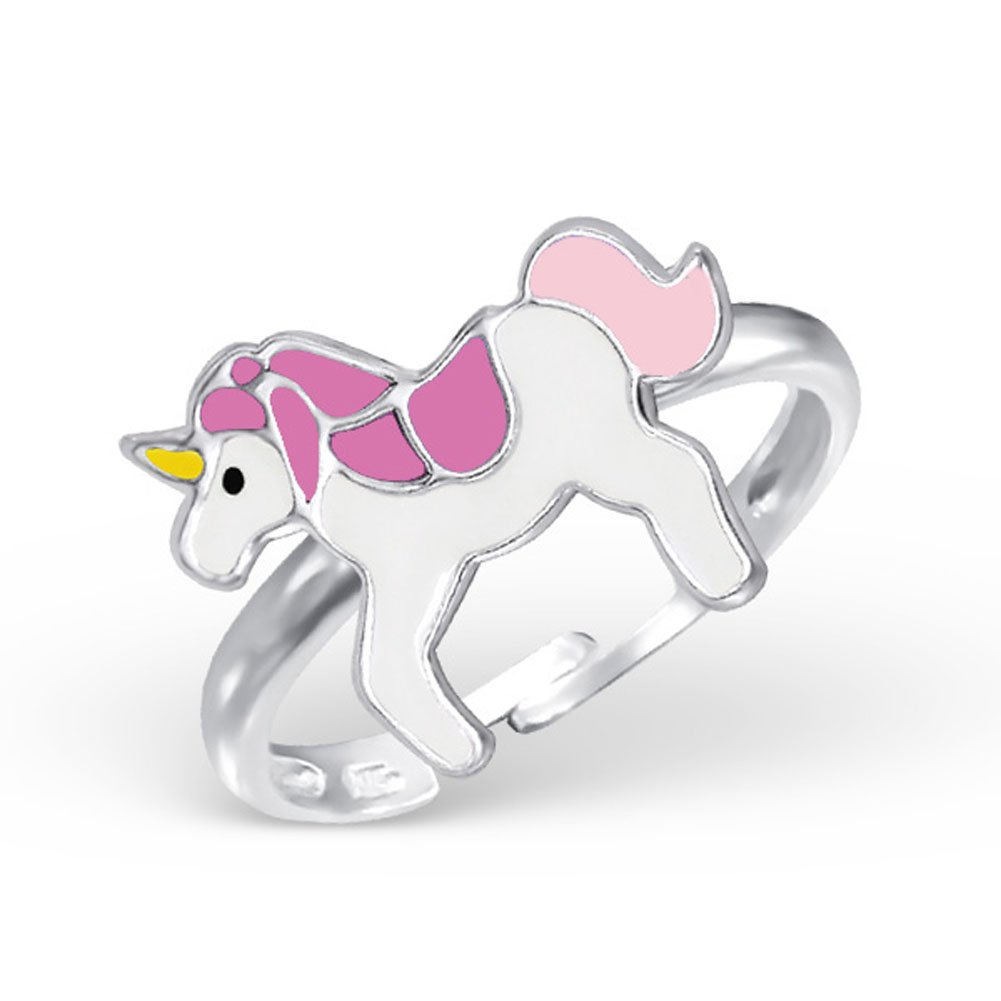 Unicorn Ring Girl Ring Jewelry Size Adjustable Sterling Silver 925 (Pink)