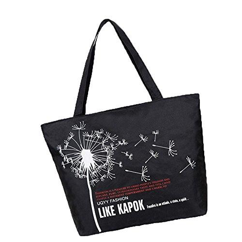 donne ragazze moda lettera il dente di leone stampa tela sacchetto di spalla tote bag Borsa a tracolla Borse a mano, nero